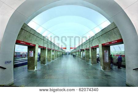 Interior Underground Subway Station Vyborgskaya, Russia, St. Petersburg.