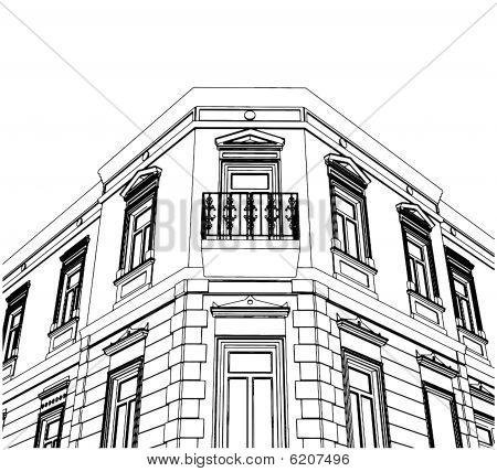 Edificio esquina Casa ecléctica Vector 02