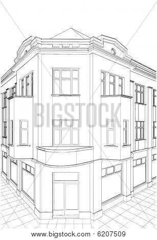 Building Corner Residential House Vector 07