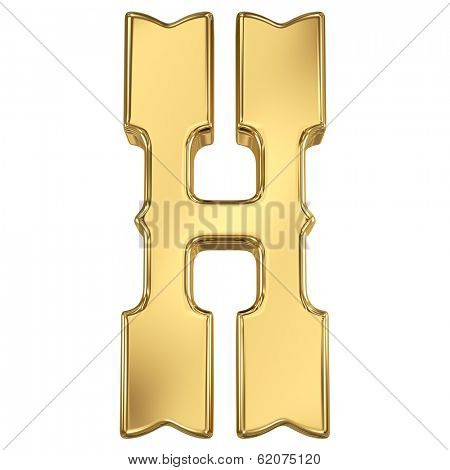 Letter H from gold solid western alphabet.