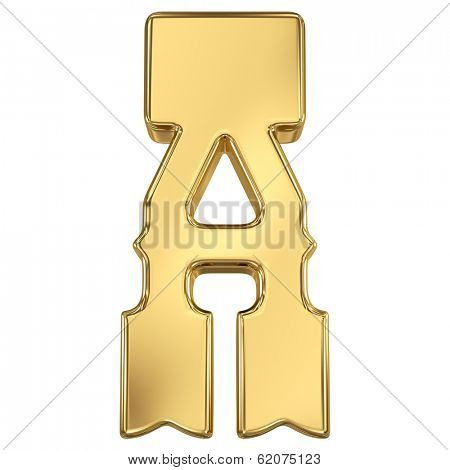 Letter A from gold solid western alphabet.