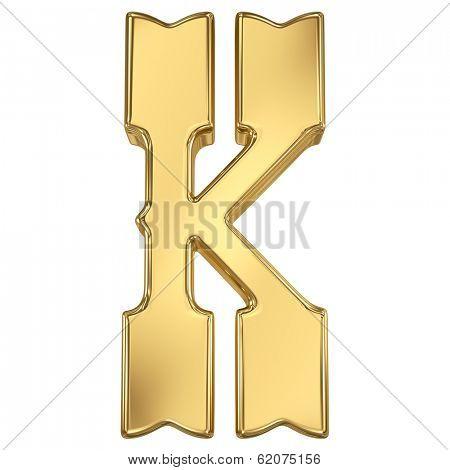 Letter K from gold solid western alphabet.