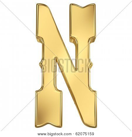 Letter N from gold solid western alphabet.