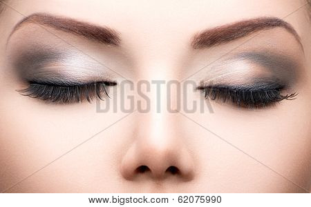 Beauty Eyes Makeup. Make up closeup. Long eyelashes, Perfect skin