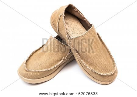 textile new moccasins on a white background