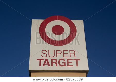 JACKSONVILLE, FL-MARCH 9, 2014: A Super Target sign in Jacksonville. Target Corporation is the second-largest discount retailer in the United States and is ranked 36th on the Fortune 500 as of 2013.
