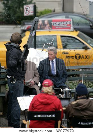 NYC - APRIL 14: Actor Richard Gere on the set of his latest movie, Arbitrage,