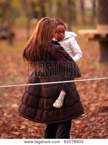 BUDAPEST, HUNGARY - NOV 5: Angelina Jolie takes Zahara to a park in Budapest, Hungary, on Friday, November 5, 2010. Jolie is in Hungary filming In The Land Of Blood And Honey.