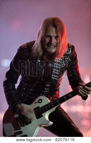 BUDAPEST, HUNGARY - AUG 11: Heavy Metal rock band Judas Priest in concert at the annual Sziget Festival in Budapest, Hungary, on Thursday, August 11, 2011. Seen here is  lead guitarist Glenn Tipton.