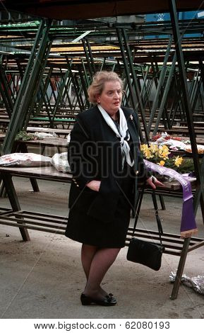 SARAJEVO, BOSNIA - MAY 4: United States envoy to the Balkans, Madeliene Albright,  stands at a makeshift memorial for the victims of the market massacre on MAY 4, 1993 in Sarajevo, Bosnia..