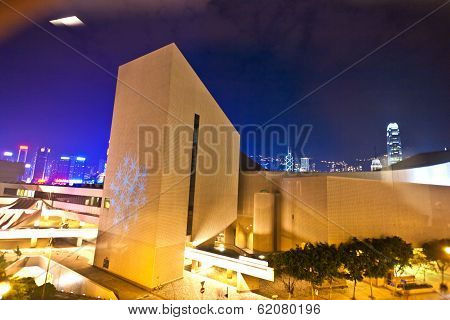 View To Modern Cultural Center By Night