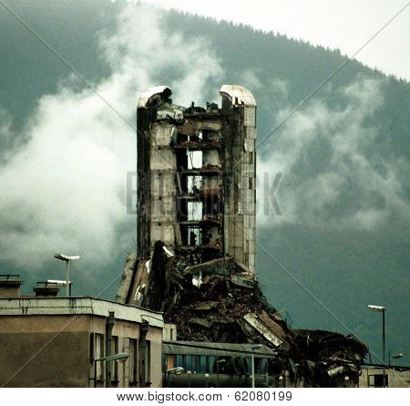 SARAJEVO, BOSNIA - NOVEMBER 20: The destroyed offices of the Bosnian daily newspaper Oslobodjenia continue to stand in the besieged city of Sarajevo on Nov 20, 1993 in Sarajevo, Bosnia.