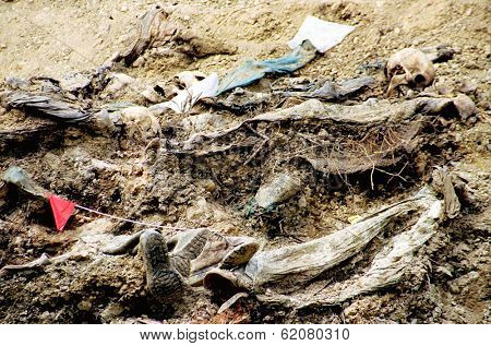 SREBRENICA, BOSNIA, 12 JUNE 1996 - The bodies of dozens of Bosnian Muslim men lie at the bottom of a mass grave outside Srebrenica, Bosnia.