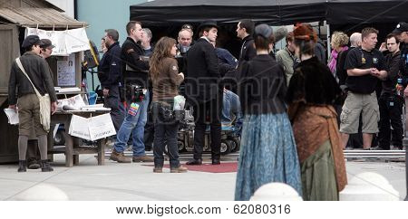 BUDAPEST, HUNGARY - MAR 28: Actor Robert Pattinson on the set of