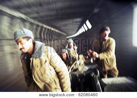 KABUL, AFGHANISTAN - OCTOBER 19: Northfoto Alliance fighters come through the Salang Pass tunnel, north of Kabul, Afghanistan on Saturday, October 19, 1996