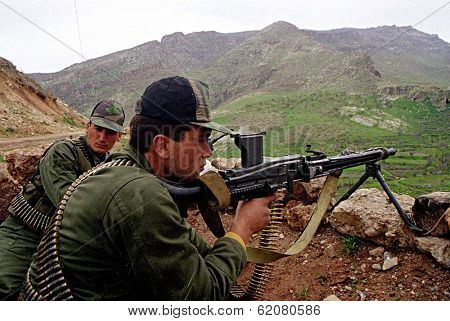 NORTHERN IRAQ - MAY 3: Turkish troops guard a strategic hilltop in northern Iraq. Turkey has again sent in its army to crush Kurdish guerrilla forces on May 3, 1998 in Northern Iraq.