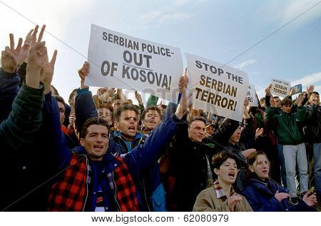PRISTINA, KOSOVO - MARCH 13:  Ethnic Albanians take to the streets of the Kosovo capital Pristina in protests against Serb repression on March 13, 1998 in Pristina, Kosovo