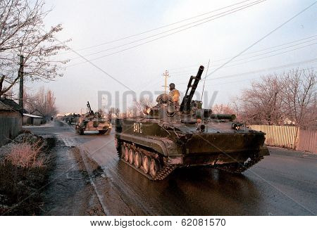 MOZDOK, RUSSIA - JANUARY 12: A column of Russian army armor makes its way south from a Russian army base towards the front lines of Chechnya on January 12, 2000 in Mozdok, Russia (C) Photo Credit: Mark H. Milstein
