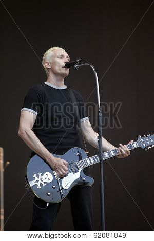 BUDAPEST, HUNGARY - AUG 15: German punk band Die Aerzte (Die Arzte) perform at the annual Sziget music festival in Budapest, Hungary, on Friday, August 15, 2008. Band members are Farin Urlaub, Bela B. and Rodrigo Gonzalez.