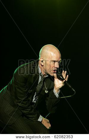 BUDAPEST, HUNGARY - AUG 16: American rock band REM perform in concert at the annual Sziget music festival in Budapest, Hungary, on Saturday, August 16, 2008. REM is Peter Buck, Mike Mills, Michael Stipe, and Bill Berry.