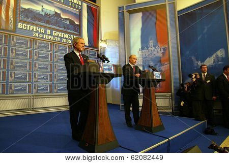BRATISLAVA, SLOVAKIA - FEBRUARY 24:  United States President George W. Bush and Russian president Vladimir Putin speak to the press after their summit in the Slovak capital, Bratislava on February 24, 2005 in Bratislava, Slovakia