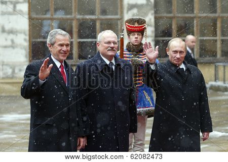 BRATISLAVA, SLOVAKIA - FEBRUARY 24: United States President George W. Bush, left, today met with Russian President Vladimir Putin, in Bratislava Slovakia. Slovak president Ivan Gasparovic, center on February 24, 2005 in Bratislava, Slovakia
