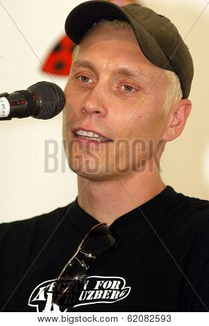 BUDAPEST, HUNGARY - AUGUST 10: Die Aerzte (Die Arzte) perform at the annual Sziget music festival in Budapest, Hungary, on Tuesday, August 10, 2004. Seen here is guitarist Farin Urlaub.