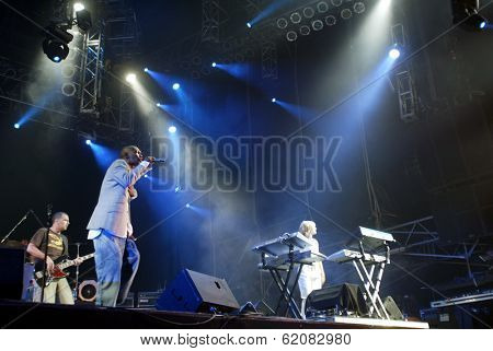 BUDAPEST, HUNGARY - AUGUST 10: Faithless perform at the annual Sziget music festival on August 10, 2004 in Budapest, Hungary.