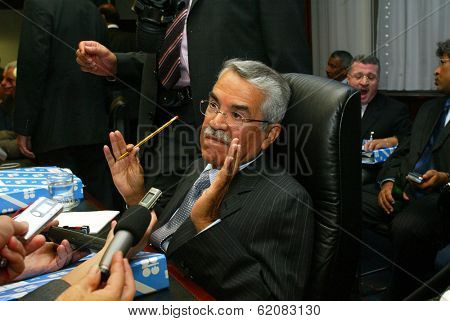 VIENNA, AUSTRIA - SEPT 19: Saudi Arabian oil minister Ali I Naimi, center seated, attends the Organization of Petroleum Exporting Countries (OPEC) annual conference in Vienna, Austria, on Monday, September 19, 2005.