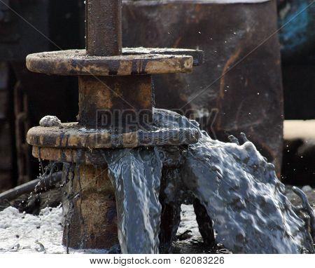 BAKU - AZERBAIJAN- FEB. 4: A gushing oil well near Baku, Azerbaijan, on Wednesday, February 4, 2009.