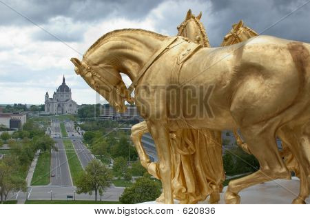 Gold Horses Over The City