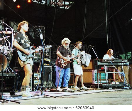 WASHINGTON, D.C. - JUNE 20: The Grateful Dead in concert in Washington, D.C., on Saturday, June 20, 1992. From left, Phil Lesh, Bob Wier, Jerry Garcia,  Bruce Hornsby. and Vince Welnick