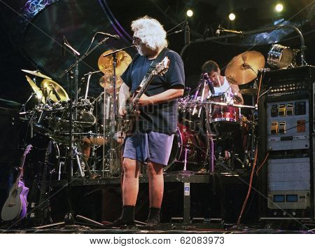 EAST RUTHERFORD, NEW JERSEY - AUGUST 3: The Grateful Dead in concert in East Rutherford, New Jersey, on Sunday, August 3, 1994. Seen here is Jerry Garcia and Micky Hart.