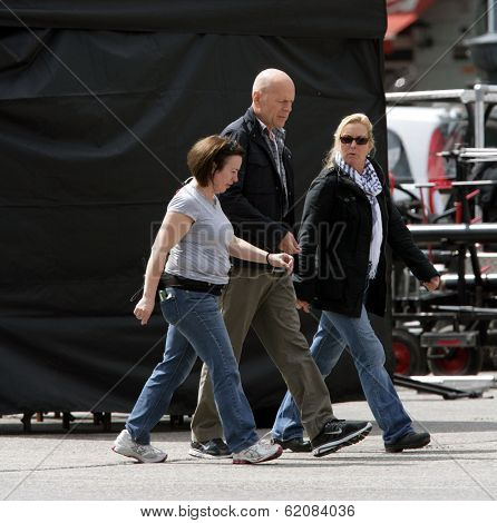 BUDAPEST - MAY 78 Actor Bruce Willis arrives on the set of Die Hard 5: A Good Day To Die Hard in Budapest, Hungary. on Tuesday, May 8, 2012.