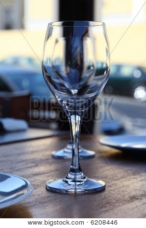 Empty Wine Glasses On Restaraunt Table