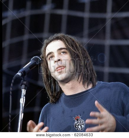WASHINGTON, D.C. - AUGUST 4, 1994: Counting Crows lead singer Adam Duritz in concert at RFK stadium in Washington, D.C., on Thursday, August 4, 1994.