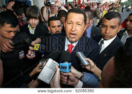 VIENNA - MAY 11: Venezuelan President Hugo Chavez greets a crowd in Vienna, Austria, on Thursday, May 11, 2006.