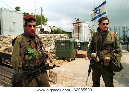 METULA, ISRAEL - MARCH 22: Israeli soldiers guard the border crossing  between Israel and Lebanon on March 22, 2000.