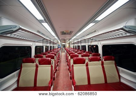 NEW YORK CITY - FEB. 16, 2014: A general interior photo of an empty Metro-North commuter train carriage in New York City on Sunday, February 16, 2014. Metro-North is a suburban railway.