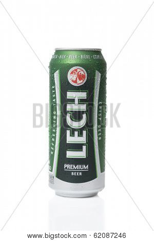 TELFORD, UK - MARCH 23, 2014: Photo of a can of Lech premium lager beer.  Lech breweries  is a major producer of beer in Poland and is part of the SAB Miller brewery empire