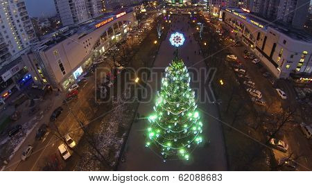 MOSCOW, RUSSIA - DEC 27, 2013: (aerial view) Christmas tree on street in Sokolniki. In central squares of Moscow on eve of 2014 established more 20 Christmas trees.