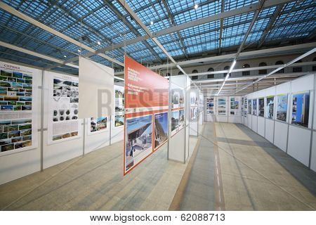 MOSCOW, RUSSIA - DEC 24, 2013: Selected architecture Emilia Romagna in 2010-2012 in Gostiny dvor.