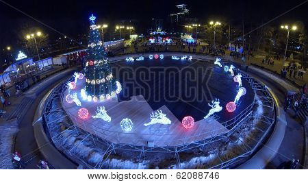 MOSCOW, RUSSIA - JAN 1, 2014: (aerial view) Christmas tree in Sokolniki park. In central squares of Moscow on eve of 2014 established more 20 Christmas trees.