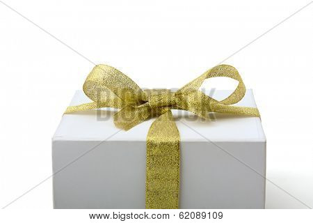 gift box with olden ribbon, isolated on white background