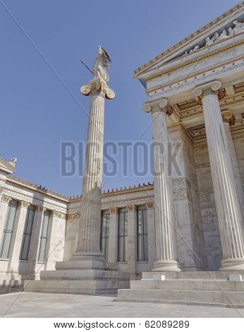 Athena the goddess of science and wisdom in front of Athens academy Greece