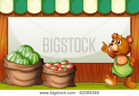 Illustration of a bear pointing the empty signboard at the market
