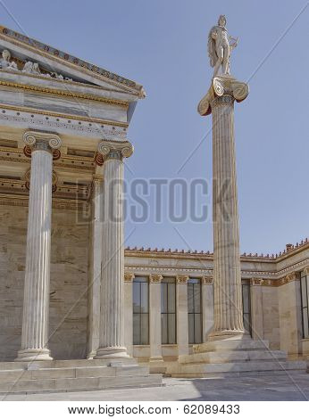 Apollo the ancient Greek god  in front of Athens academy Greece