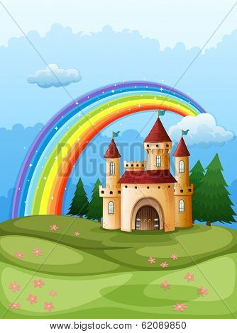 Illustration of a castle at the hilltop with a rainbow