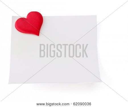 Postcard with red heart, isolated on white background