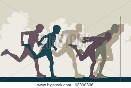 Editable vector illustration of a close finish in a men's race